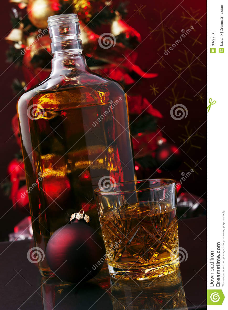 Whiskey and Christmas tree stock photo Image of festive