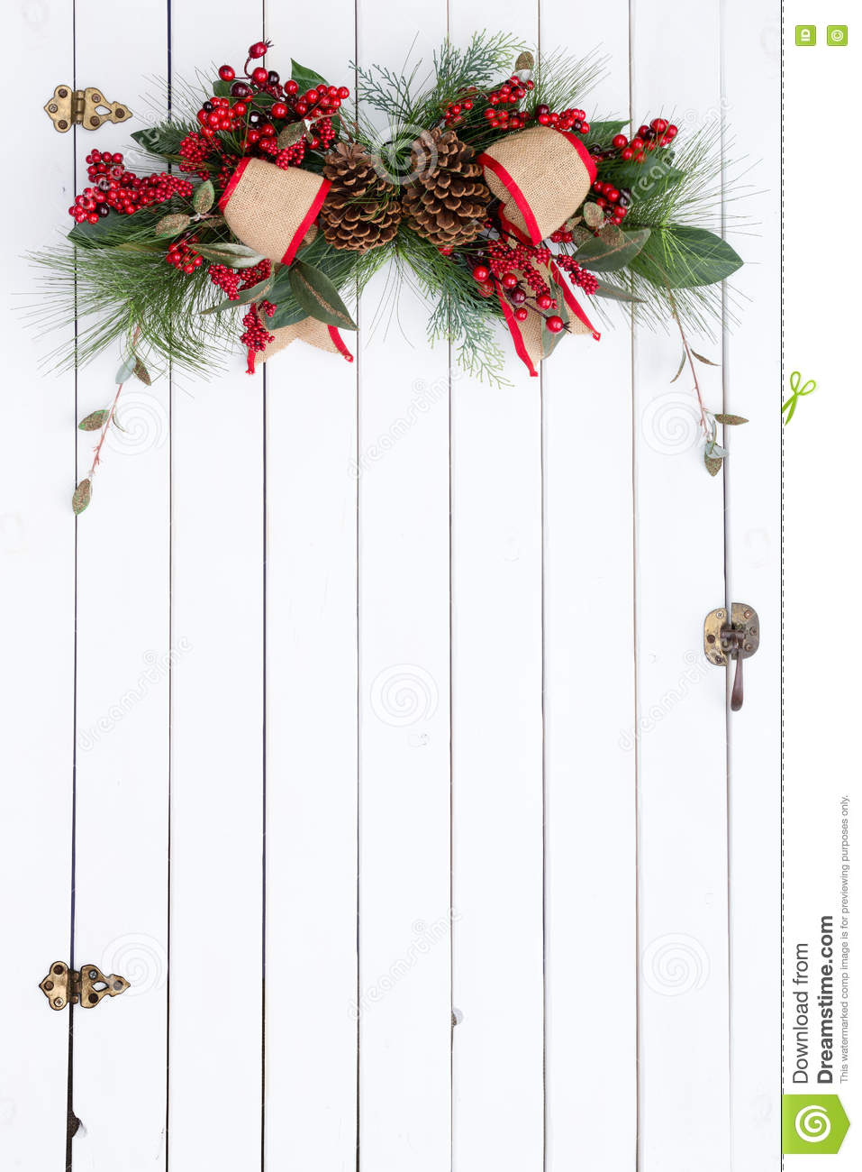 White Barn Door With Rustic Christmas Decoration Stock