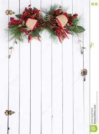 White Barn Door With Rustic Christmas Decoration Stock ...