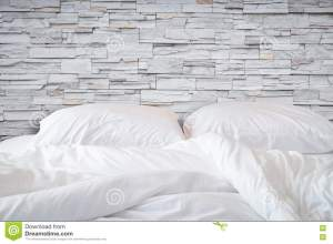 messy stone bedding sheets pillow concept bed natural close nobody clean
