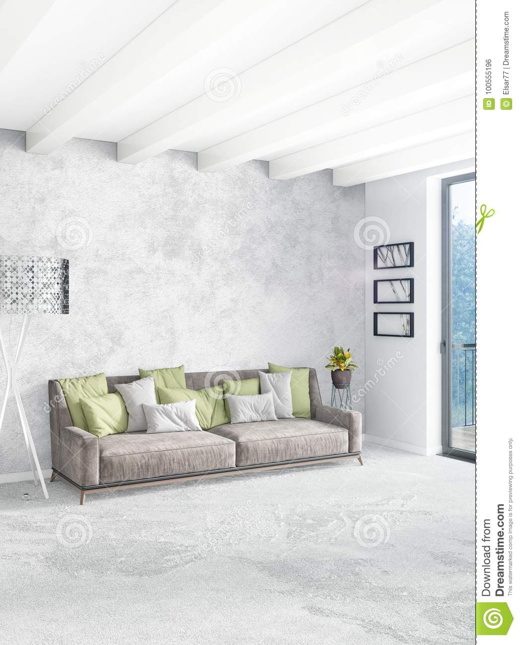 minimal sofa design ikea rp bed covers 2 seater white bedroom style interior with wood wall and grey 3d rendering