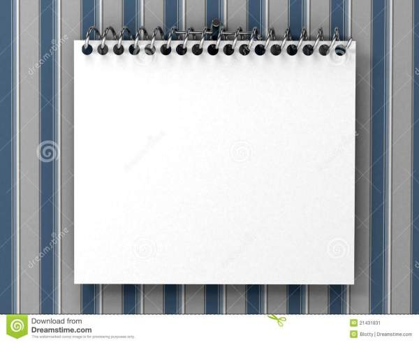 White Blank Notepad Over Striped Wallpaper Stock