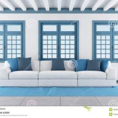 White And Blue Sofa Designer Chairs Living Room Stock Illustration Image Of