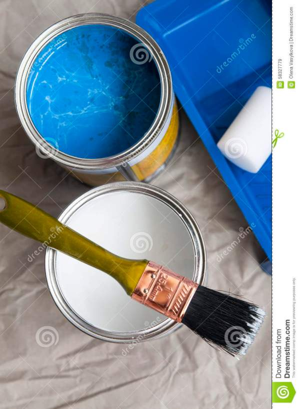 Cans With Color Paint And Roller Brush Royalty-free Stock #17614684