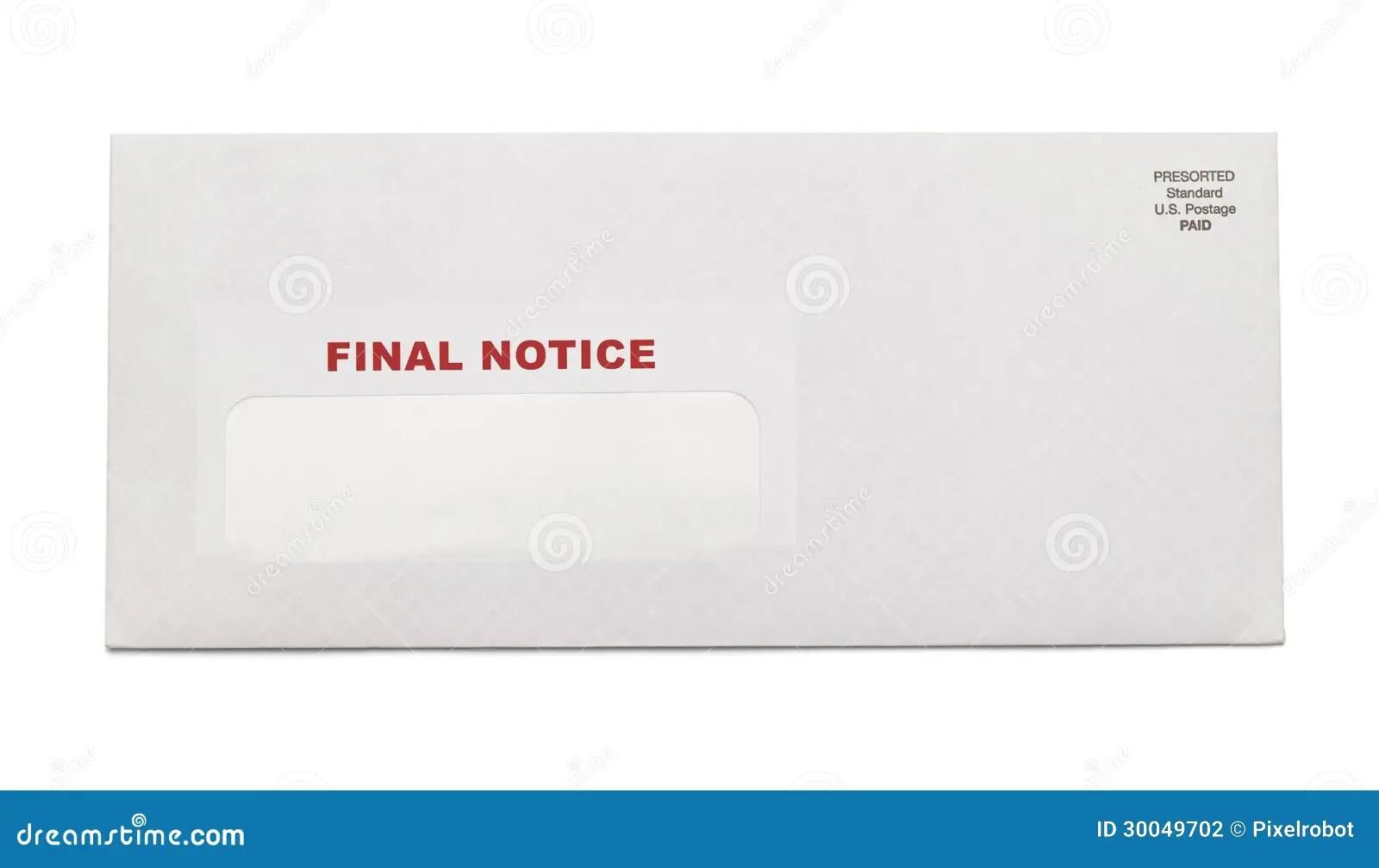 Final Notice Envelope stock photo. Image of notice, debt - 30049702