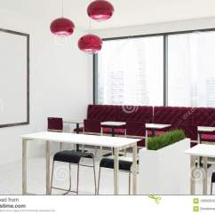Red Sofa Cafe Baku Chair For Baby Girl White Interior With Sofas Stock Illustration