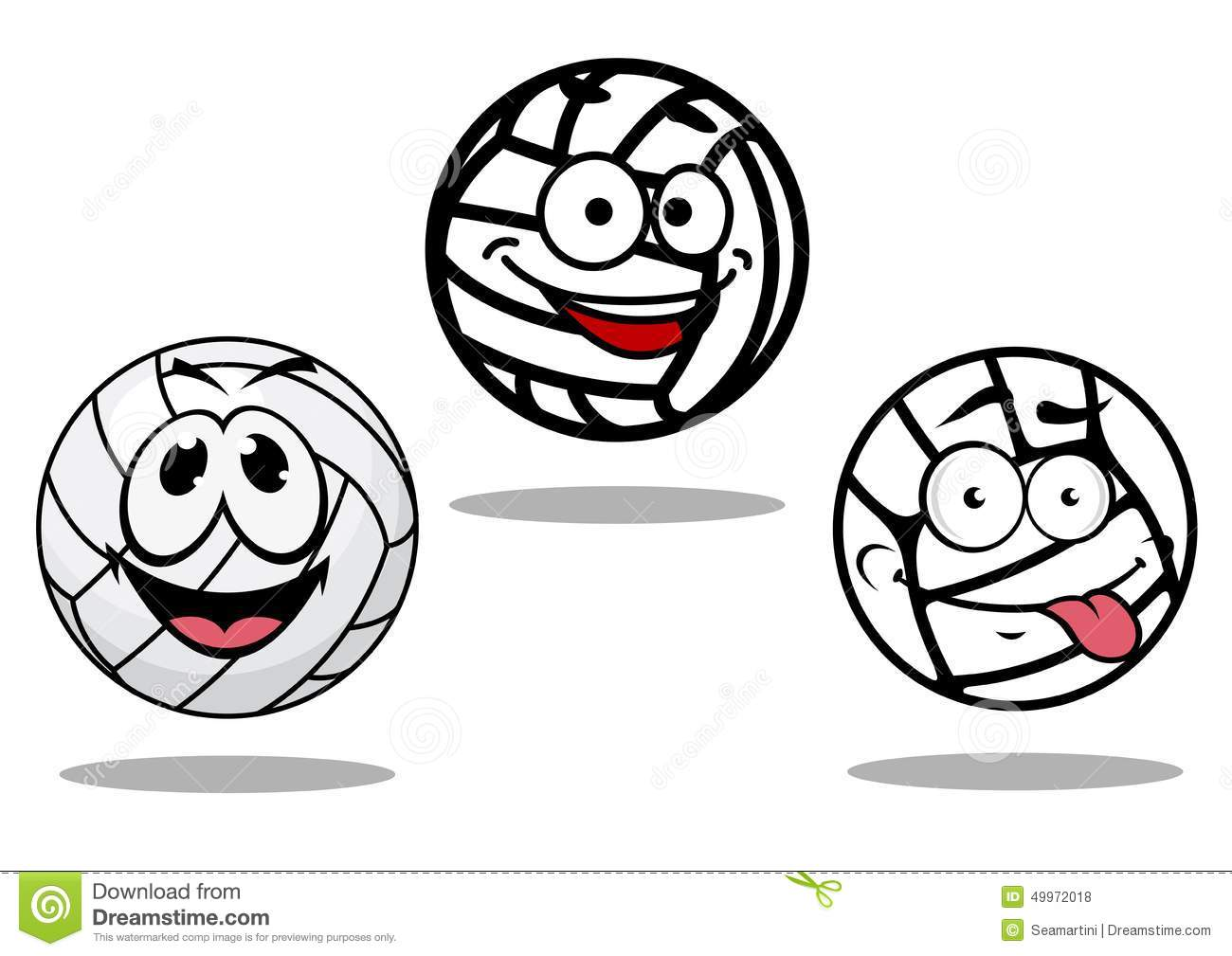 White Cartoon Volley Balls Characters Stock Vector