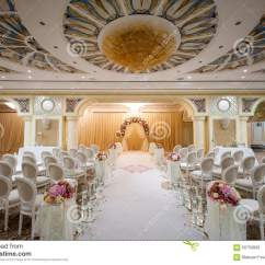 White Chairs For Wedding Monogrammed Lawn At A Indoor Stock Photo Image