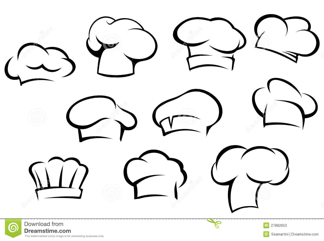 White chef hats and caps stock vector. Image of cooked