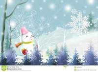 White Christmas Background With Cute Snowman - Graphic ...