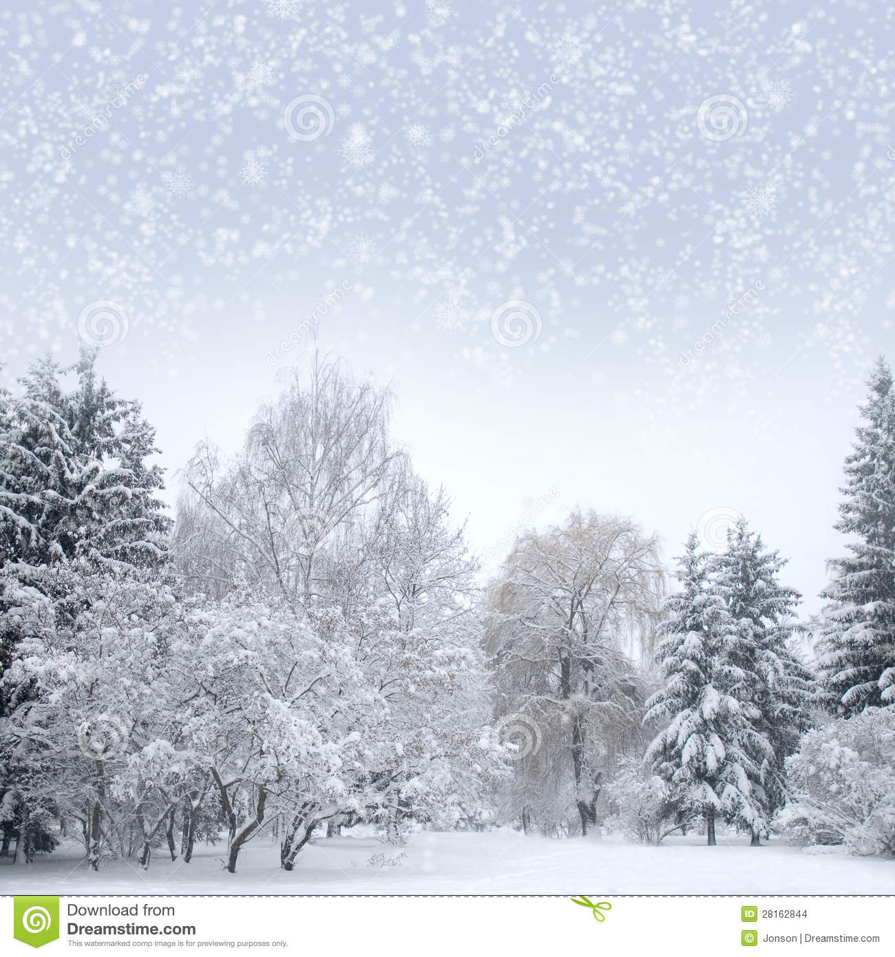 Water Falling Wallpaper Desktop White Christmas Forest With Snow Stock Images Image