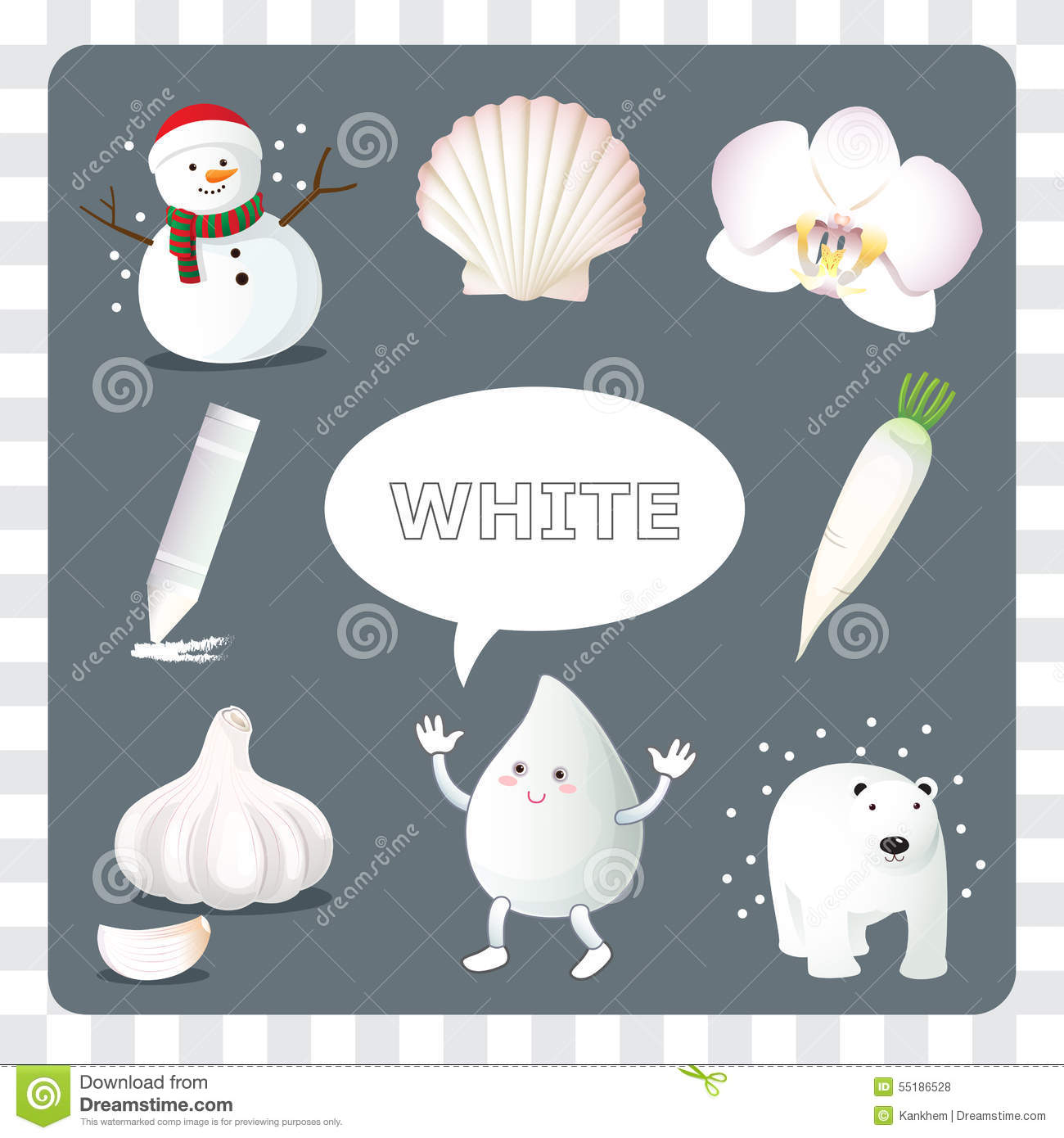 White Color On Gray Background Stock Vector