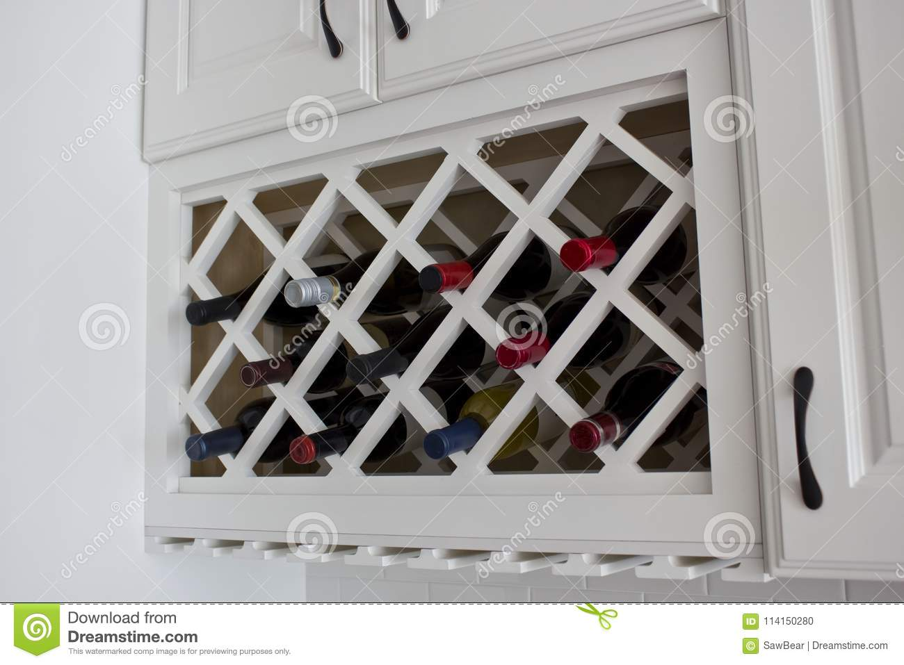 kitchen wine rack home depot packages white built in cabinet stock photo image of counter colored cabinets