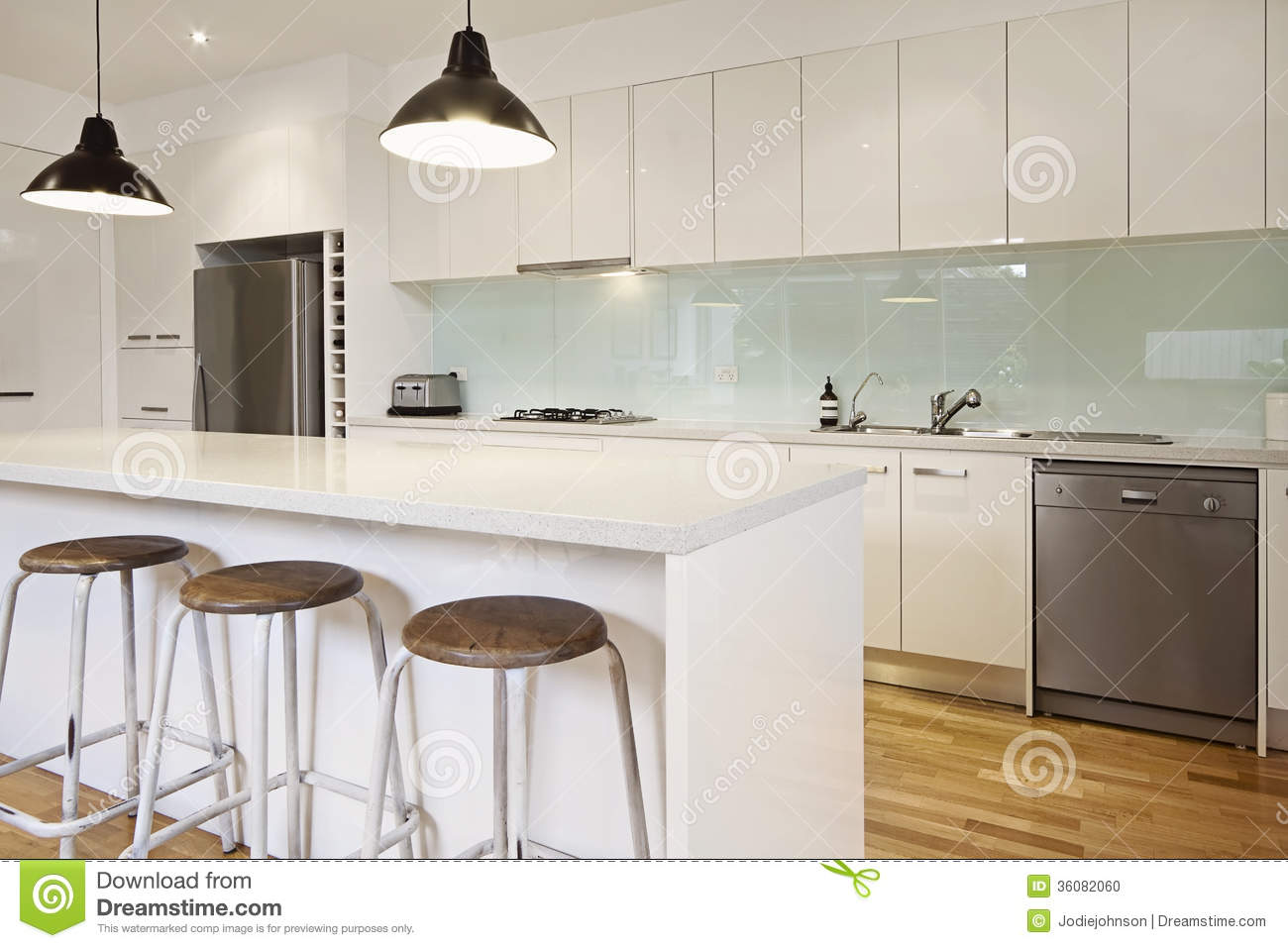 White Contemporary Kitchen With Island Stock Photo Image