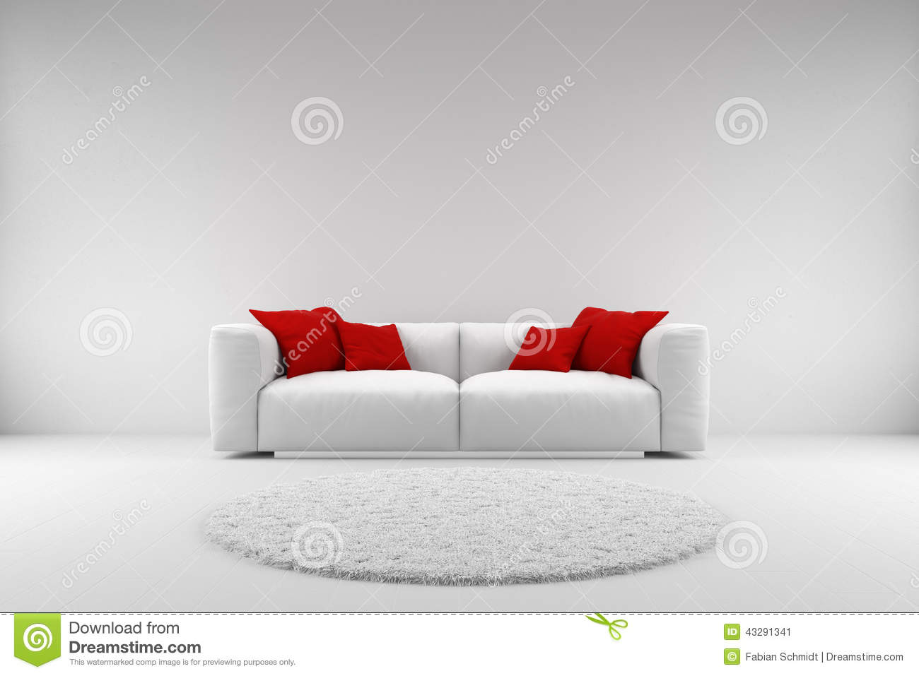 White Couch With Red Pillows Stock Illustration  Illustration of stylish couch 43291341