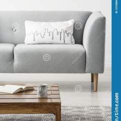 Grey Sofa Living Room Carpet Partition White Cushion On In Minimal Interior With Wooden Table