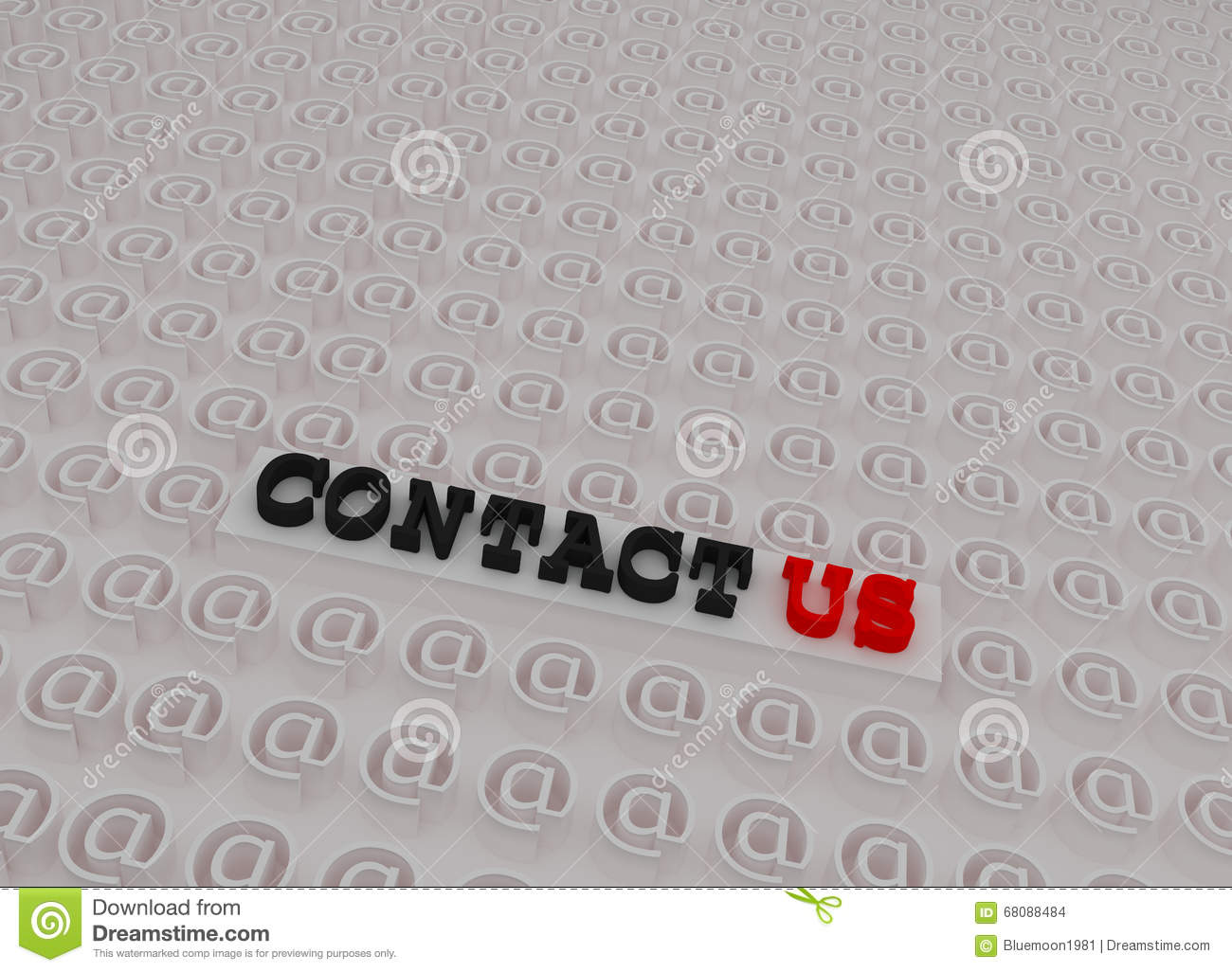 White 3d Contact Us Text Stock Illustration