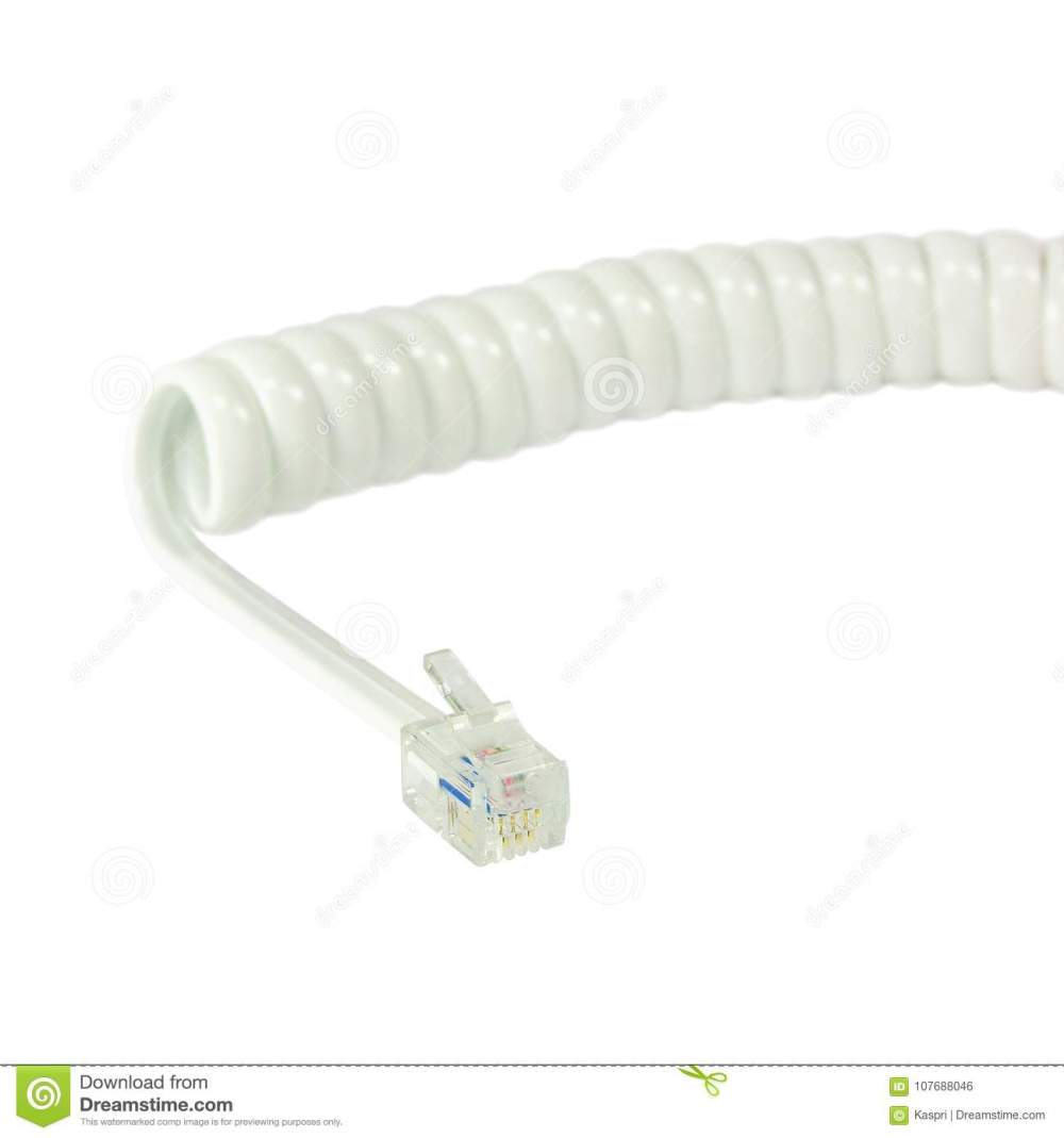 medium resolution of white disconnected telephone handset extension cord curly coil line spiral wire cable isolated 4p4c