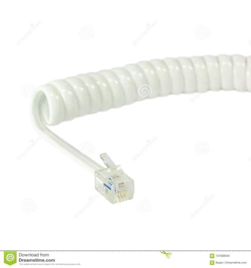 small resolution of white disconnected telephone handset extension cord curly coil line spiral wire cable isolated 4p4c