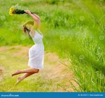 White Dress Barefoot Girl Royalty Free Stock