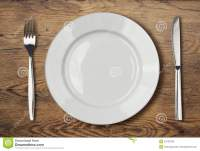 White Empty Dinner Plate Setting On Wooden Table Stock ...