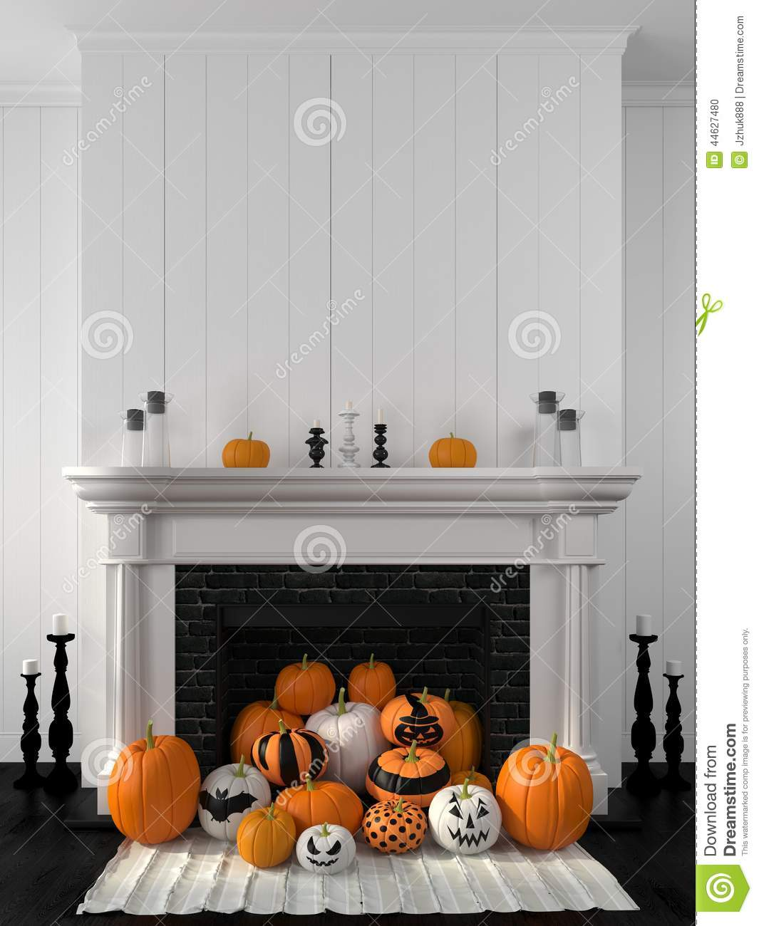 Fall White Pumpkins Wallpaper White Fireplace Decorated With Pumpkins For Halloween