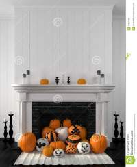 White Fireplace Decorated With Pumpkins For Halloween ...