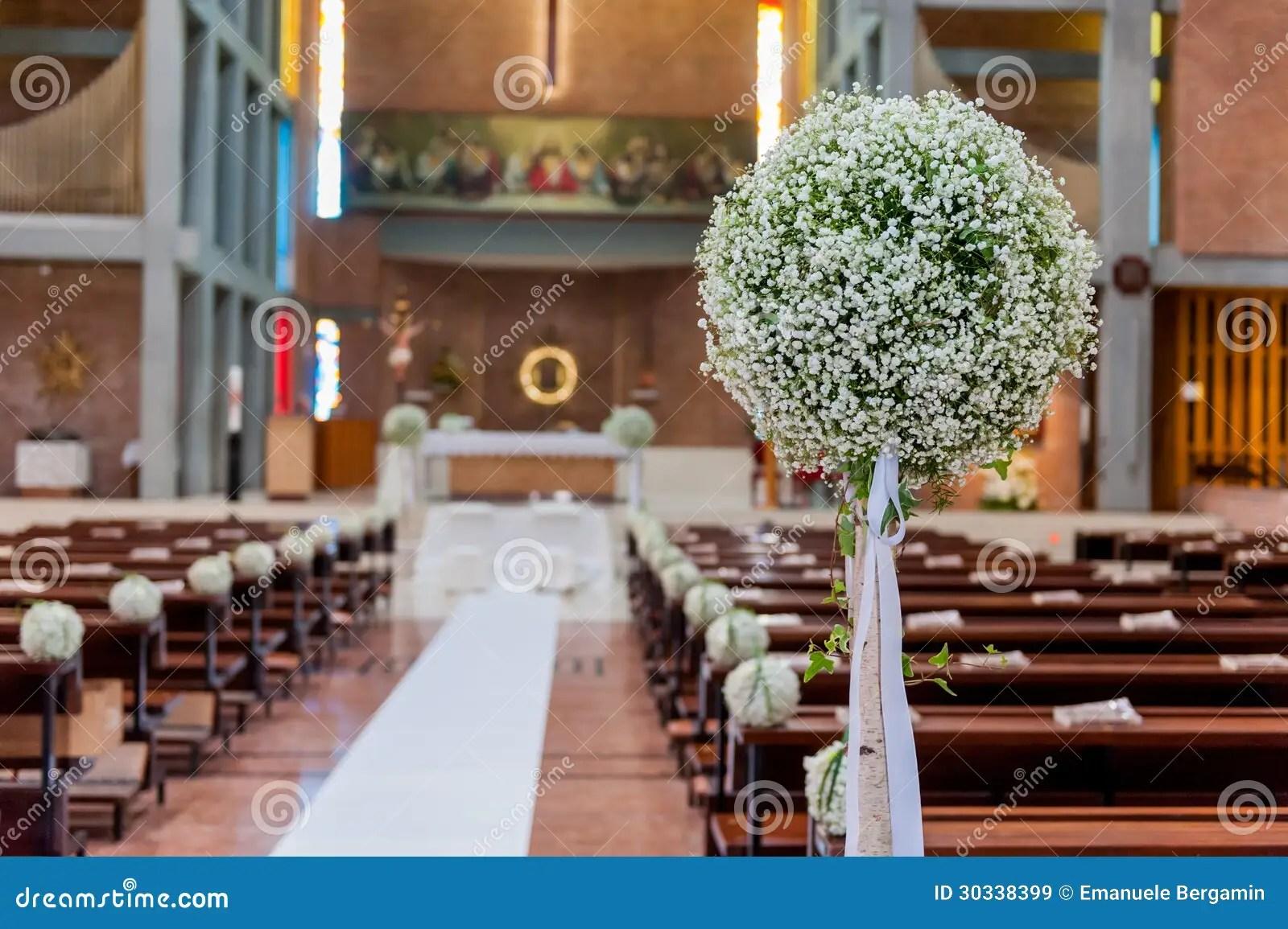White flowers in church stock image Image of bricks  30338399