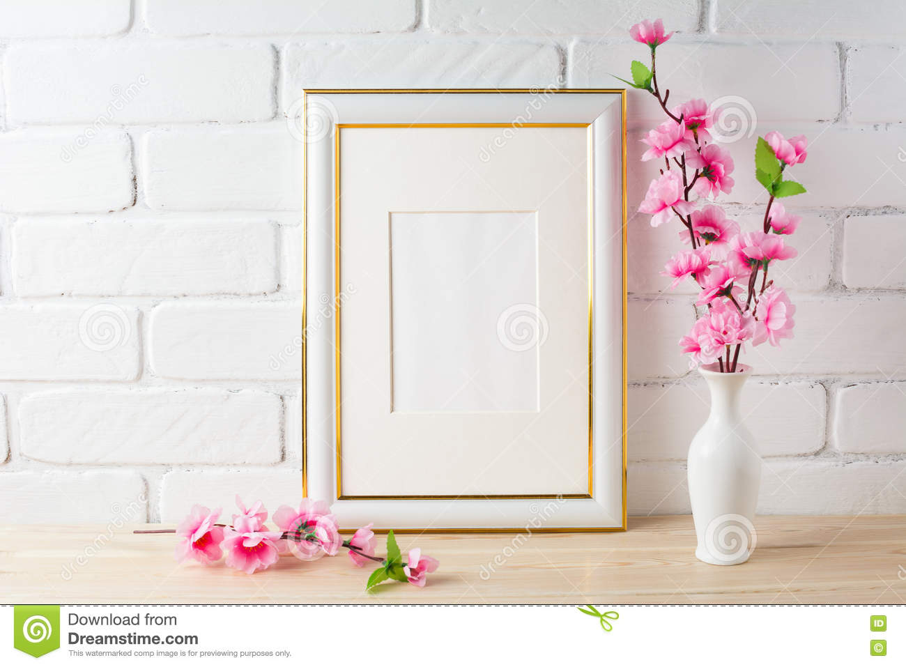 White Frame Mockup With Pink Flower Bunch Stock Image