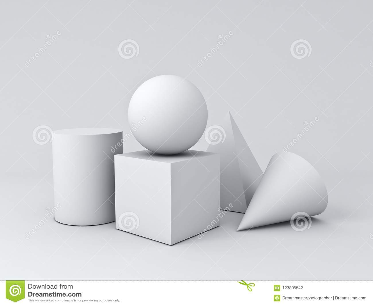 White Geometry 3d Graphic Shapes Cube Pyramid Cone