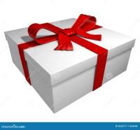 White Gift Box - Red Ribbon Stock Illustration - Image ...