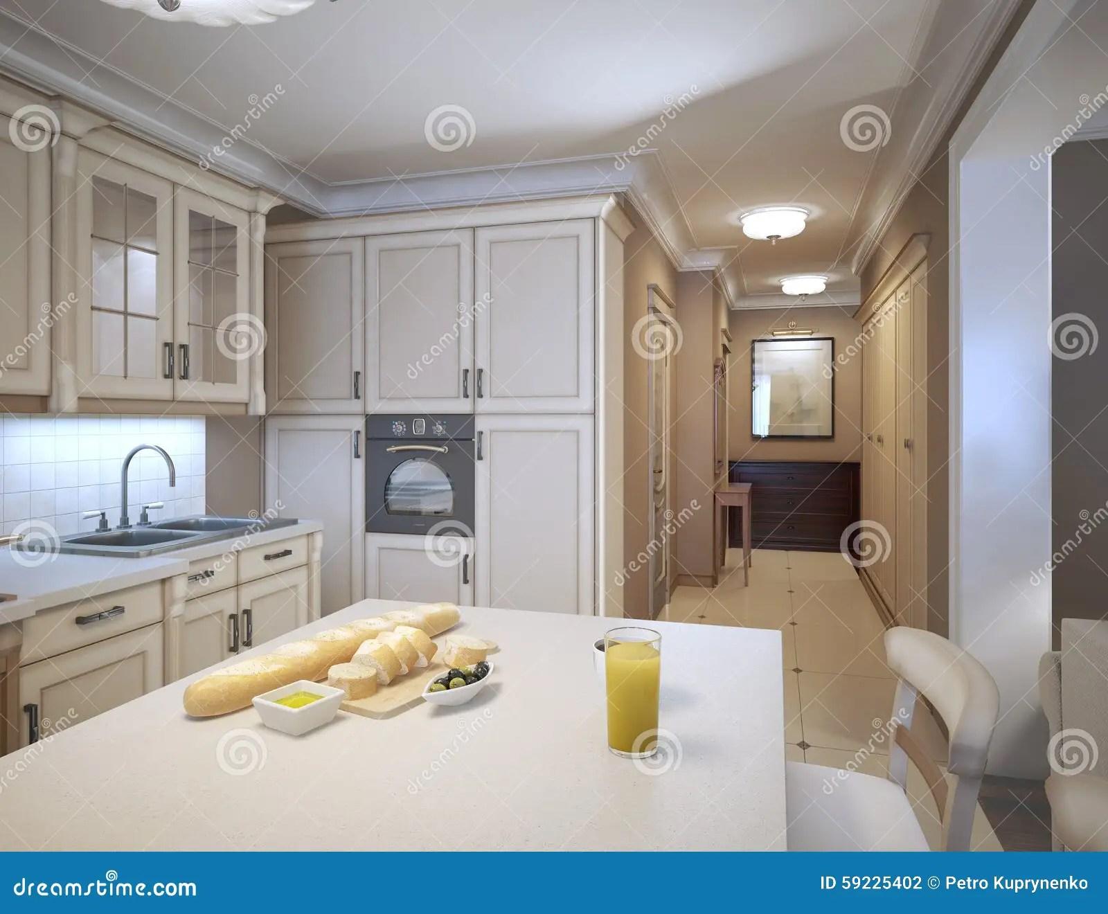 White Kitchen Art Deco Style Stock Illustration  Image
