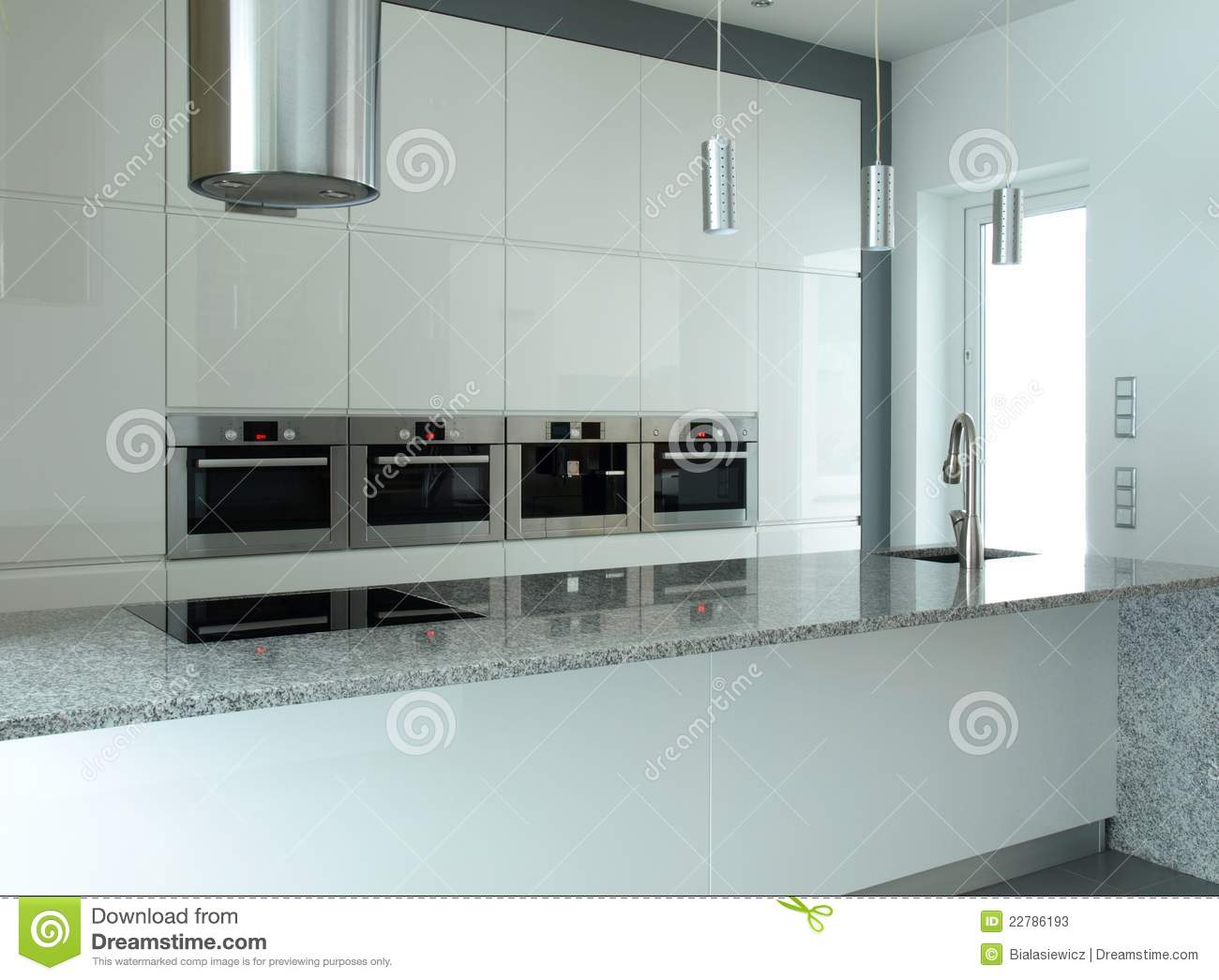 White Kitchen With Built In Appliances Stock Image Image Of Grey Lighting 22786193