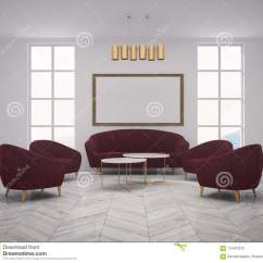 Red Sofa White Living Room Wall Color For With Armchairs Poster Stock Illustration Interior Of A Scandinavian Style Walls Dark An Armchair And Two Coffee Tables Framed Horizontal