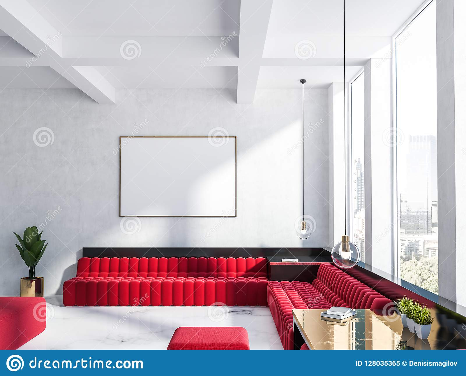 red sofa white living room bohemian decorating ideas and poster stock illustration luxury interior with walls marble floor big windows sofas horizontal mock up frame on the wall 3d rendering