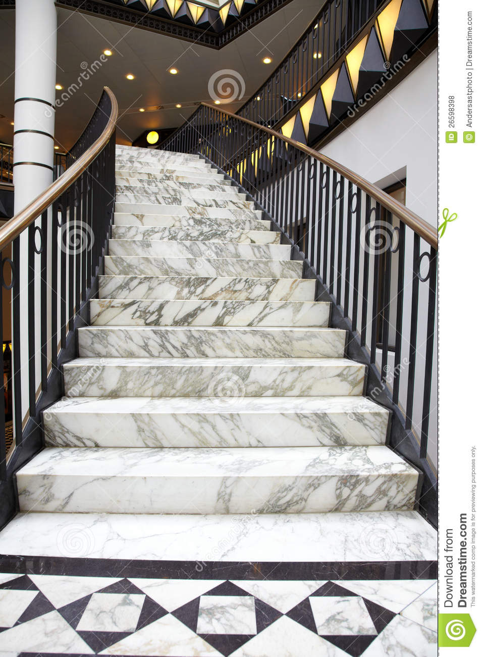 White Marble Stair In Luxury Interior Stock Photo  Image