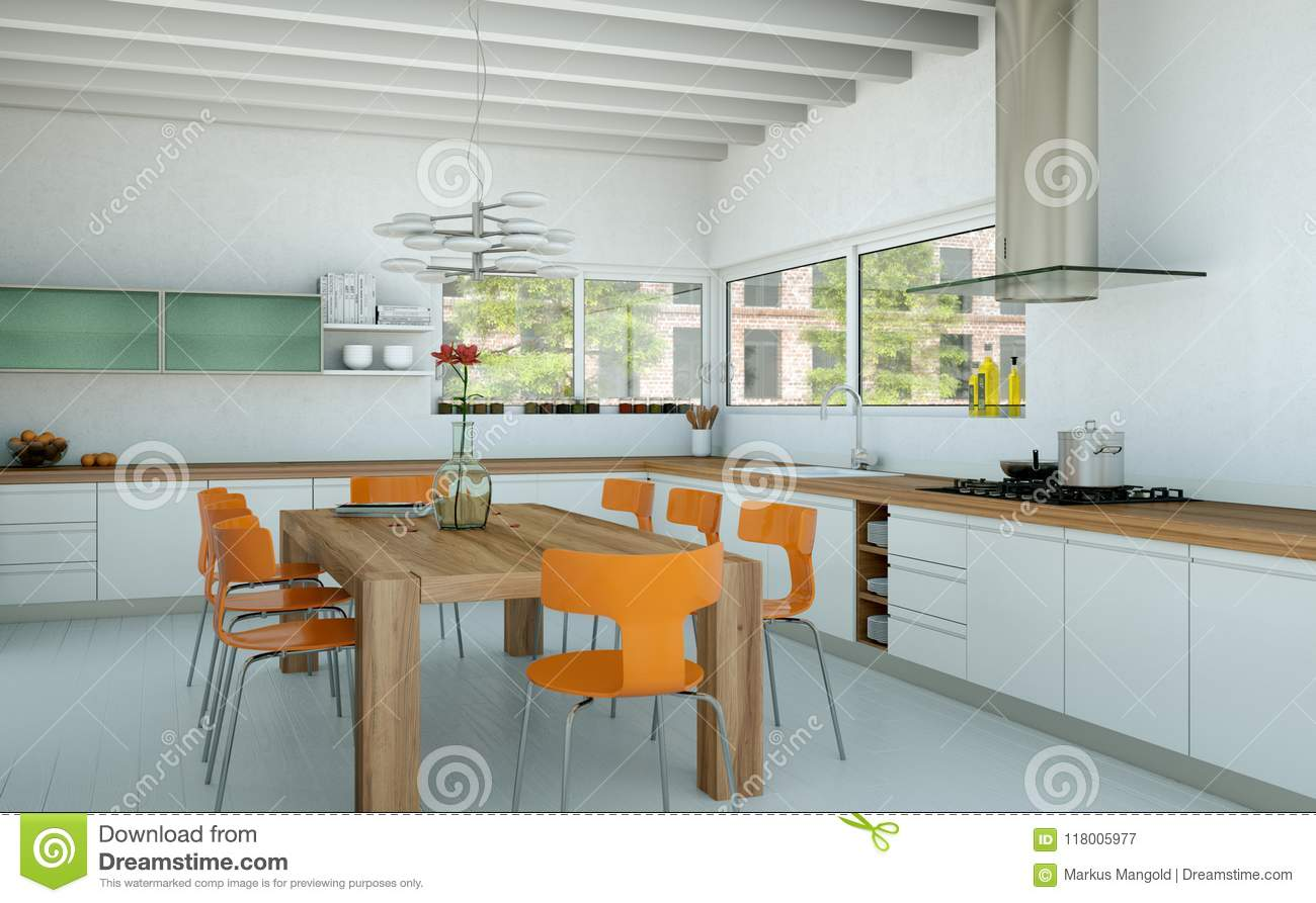 Modern Kitchen Chairs White Modern Kitchen In A House With Orange Chairs And Wooden