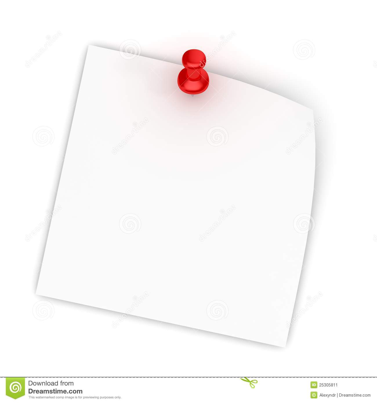 White Note Paper With Red Push Pin On Whi Stock Image