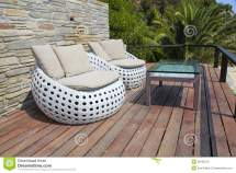 White Outdoor Furniture Wood Resort Terrace Stock