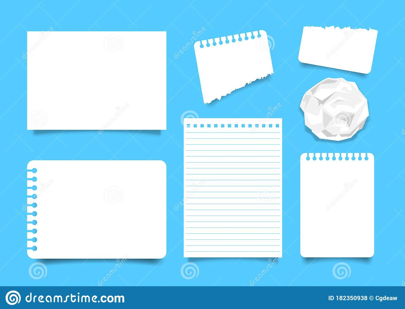 White Paper Sheet Set Isoloated On Blue Background Note