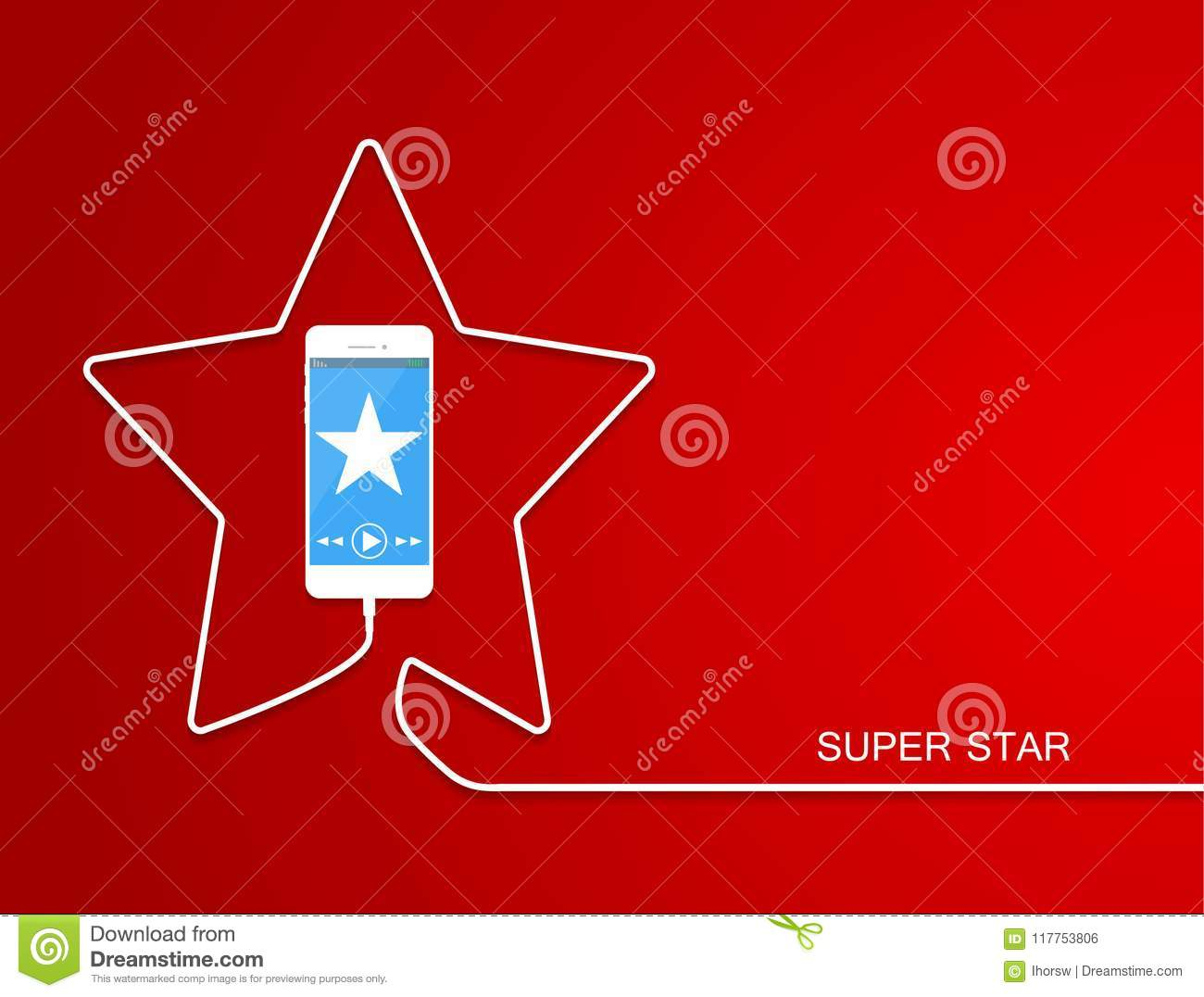 hight resolution of white phone charging in star style smarthone line wire isolated on red background