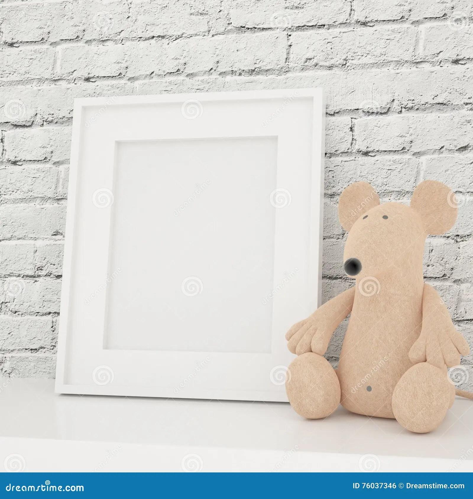 White Photo Frame Mock Up In Children Room Stock Photo