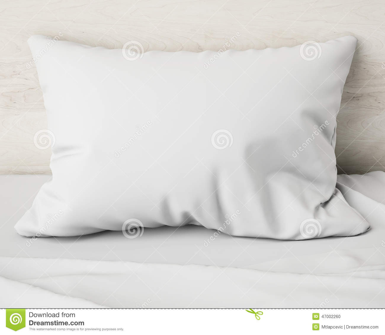 White Pillow On The Bed Background Stock Illustration