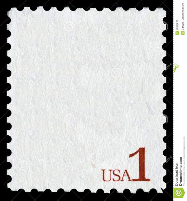 White Postage Stamp With The Writing USA 1 Stock Photo