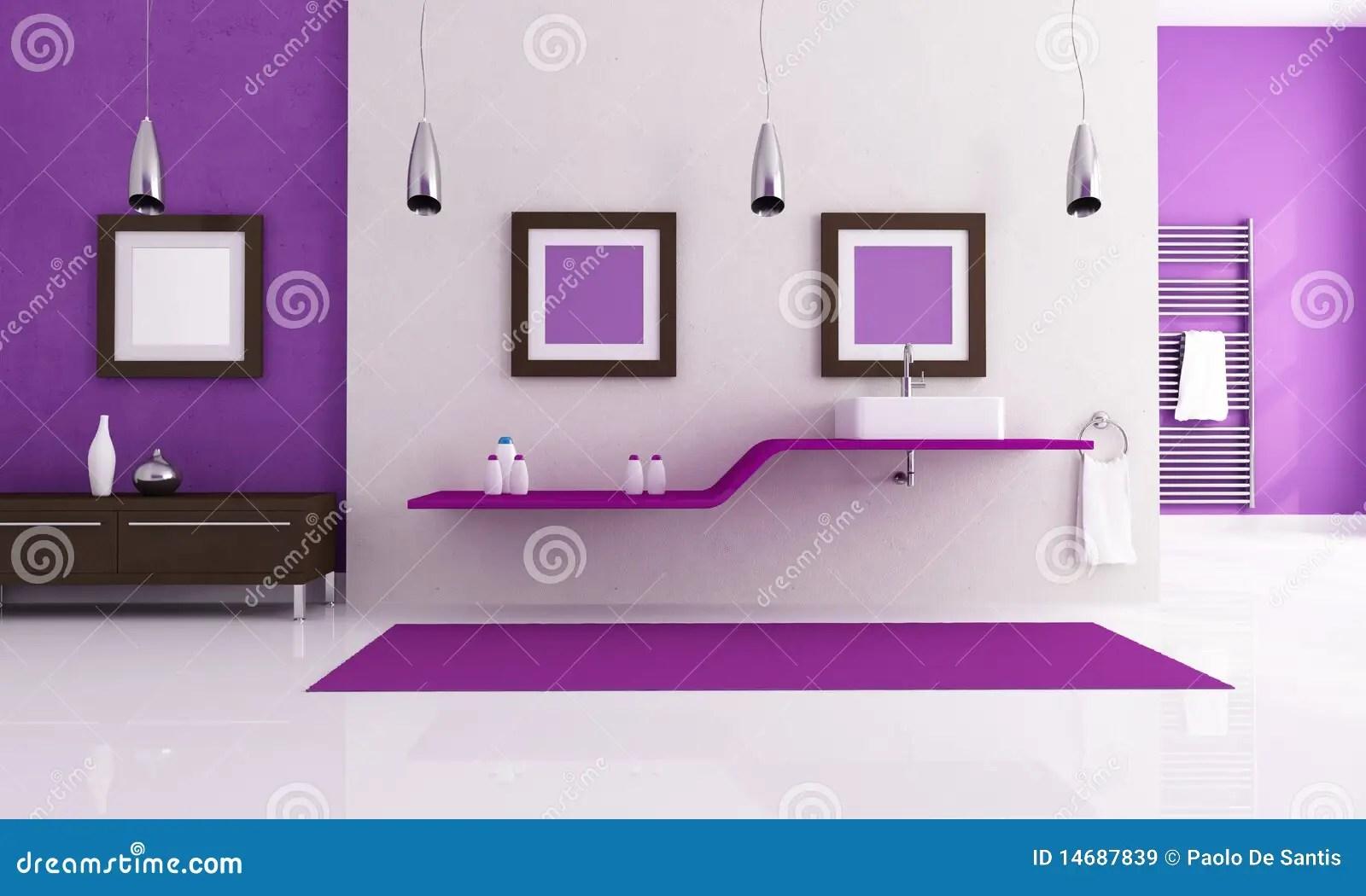 White and purple bathroom stock illustration Image of plaster  14687839