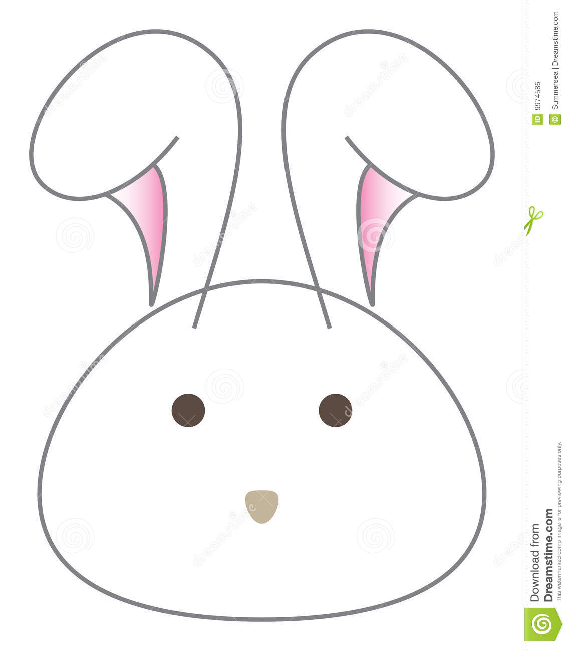 White Rabbit Cartoon Head Vector Royalty Free Stock Image