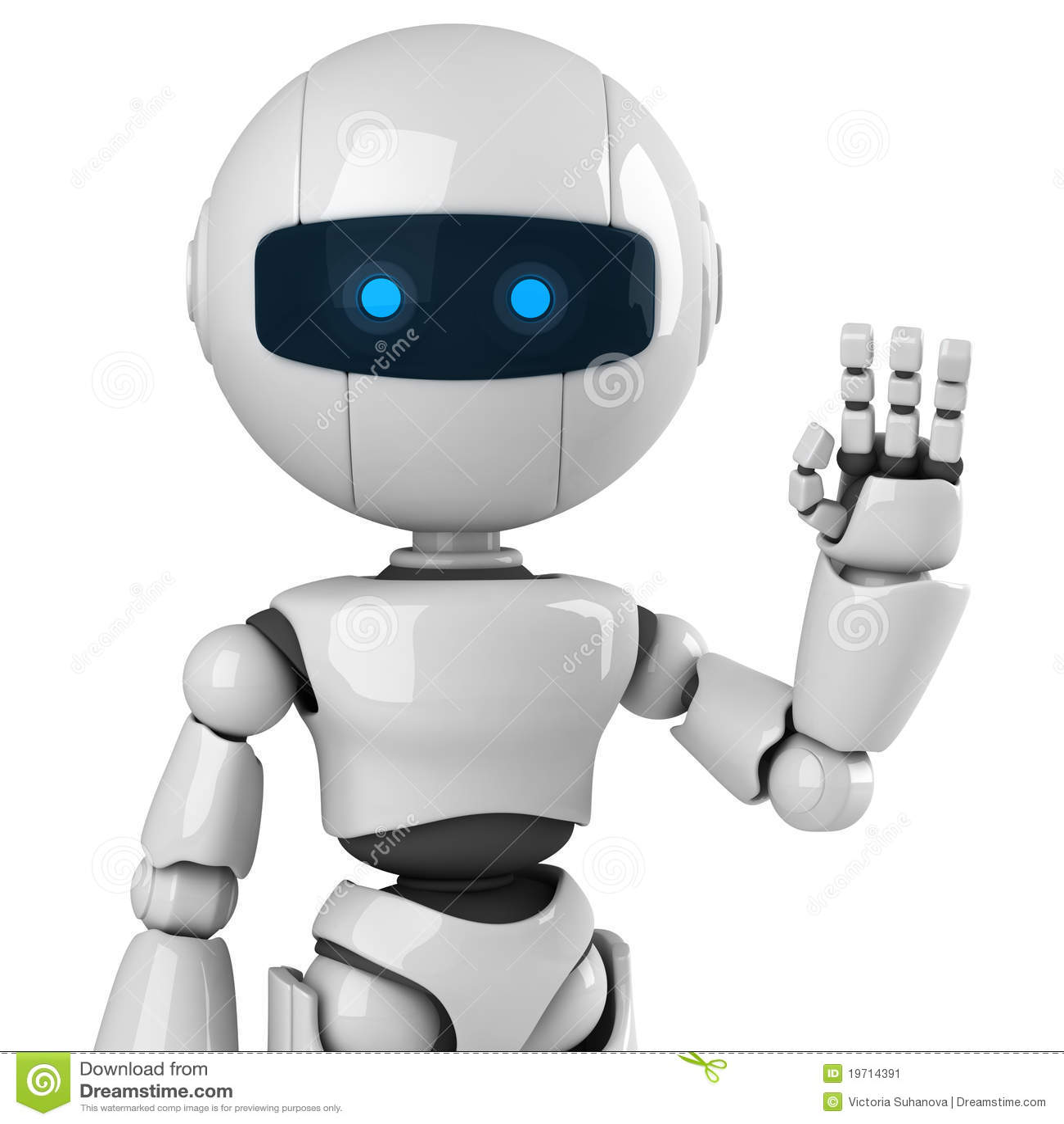 white robot say hello