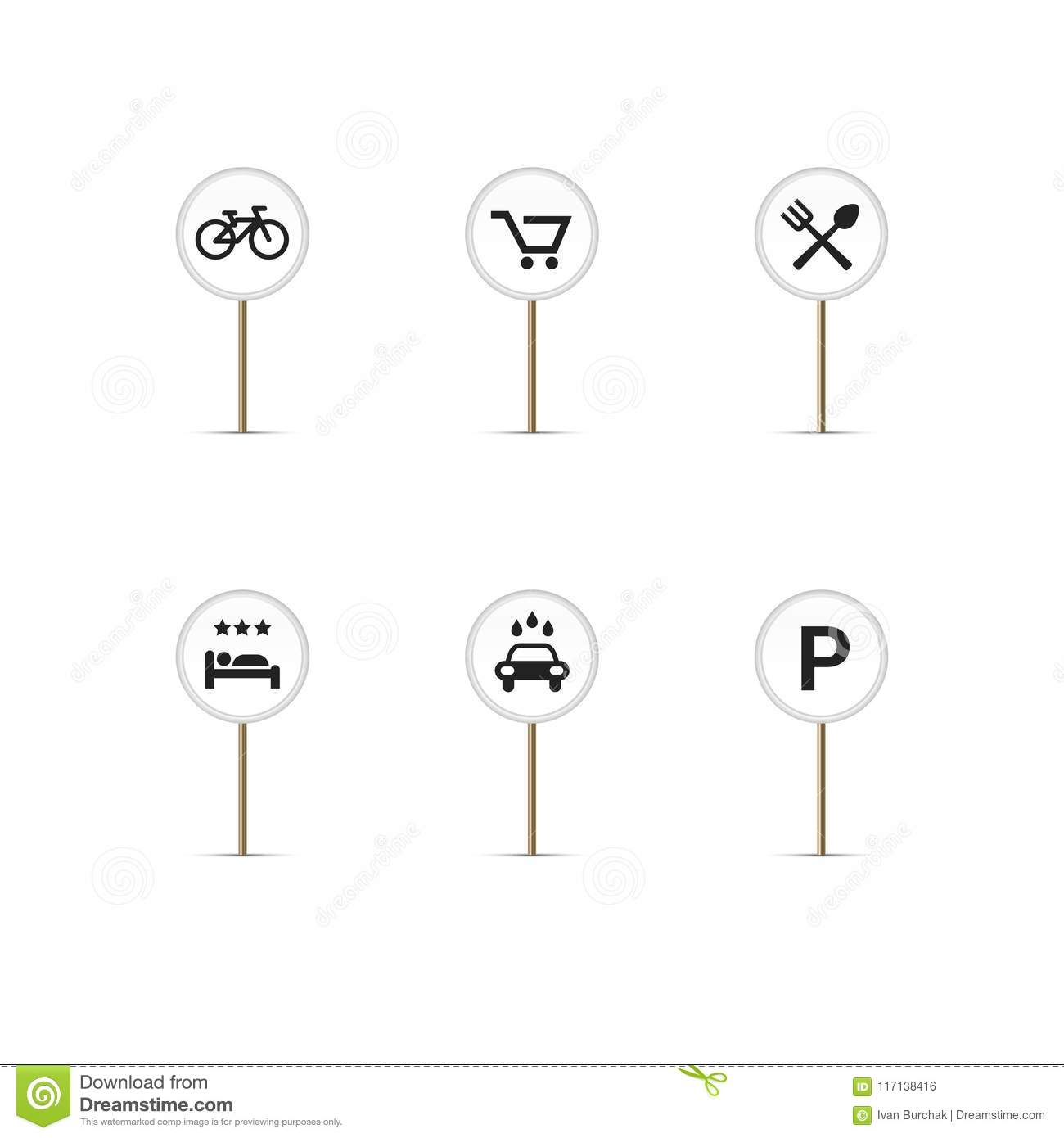 Restaurant Map Pin Pointer Design Cartoon Vector