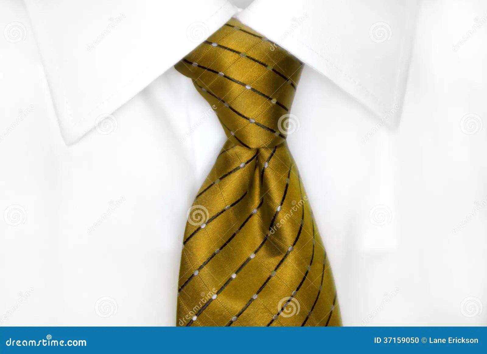 White Shirt Gold Tie Stock Photo
