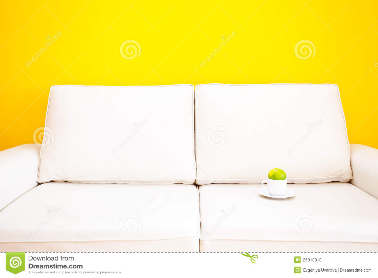 tangerine sofa leather clearance ontario white and cup with royalty free stock image
